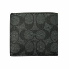 コーチ COACH 二つ折り財布 F75006 チャコール×ブラック シグネチャーPVC レザー コイン ウォレット アウトレット