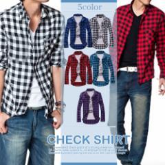 チェックシャツ メンズ トップス シャツ チェック 長袖 長袖シャツ 長袖チェックシャツ ボタン ブロックチェック メンズファッション