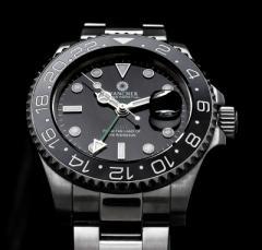 冒険家の時計 機械式自動巻き WANCHER「EXTREME」 ブラック 24時間計GMT機能搭載