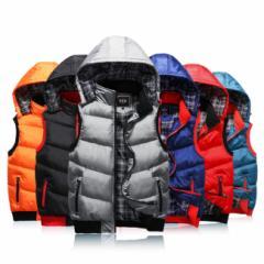 秋冬 人気 中綿 ダウンベスト メンズ 大きいサイズ  アウター スウェット 防寒  軽量 カジュアル  ダウンジャケット 全5色 新作