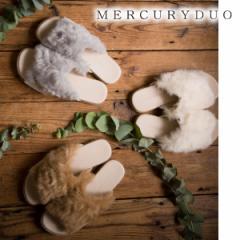 【SALE】MERCURYDUO マーキュリーデュオ フェイクファーフラットサンダル【2016A/W】【入荷!】(001651800501)