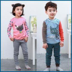 子供服 キッズ 子供 パジャマ 寝巻き 上下セット 長袖 部屋着 ルームウェア シンプル あったか kd1248