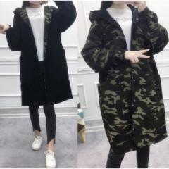 レディース ミリタリージャケット 両面着コート迷彩 フード付き ロングコート大きいサイズ秋冬定番