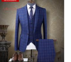 チェック柄フォーマビジネススーツ/カラー4ピーススーツ/メンズスリーピーススーツ/セットアップ/大きサイズ/ 紳士服 /結婚式/通勤