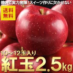 送料無料 フルーツ りんご 紅玉 約2.5kg 10〜12玉 お菓子作りに リンゴ 林檎(gn)