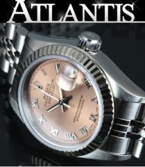 銀座 ロレックス 69174U デイトジャスト SS 腕時計 ピンク文字盤 レディース