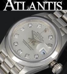 銀座 ロレックス 79166G デイトジャスト プラチナ 10Pダイヤ 腕時計 レディース