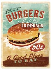 13021 ティンサイン40×30cm ハンバーガー