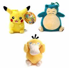 (先払いのみ) 日本アニメグッズ Pokemon XY(ポケモン XY) ピカチュウ&カビゴン&コダック ぬいぐるみ キーホルダー(12cm/3種1択)