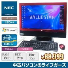 NEC 液晶一体型PC Windows7 Core i7-2630QM RAM8GB HDD2TB ブルーレイ 23型ワイド フルHD 無線LAN 地デジ VW770/ES 中古PC 2418