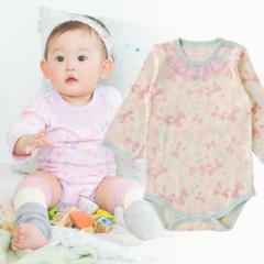 ベビー服 赤ちゃん 服 ベビー ロンパース 女の子 70 80 90 保育園 リボンいっぱい長袖かぶりロンパース