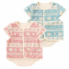 ベビー服 赤ちゃん 服 ベビー アウター 男の子 女の子 70 80 90 ギフト 北欧風プリント袖付きフリースベスト