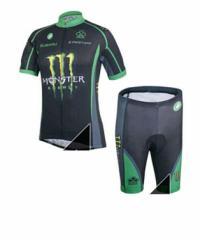Monster Energyサイクルジャージ上下セット/男性用自転車サイクルウェア半袖/春夏用サイクルジャージ普通タイプ ビブタイプ