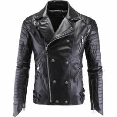 レザージャケット ライダースジャケット シングルライダース フェイクレザー メンズ 革ジャケット 革ジャン 皮ジャン アウター