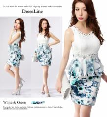 グリーンフラワープリントスカート×レースノースリーブ ペプラムワンピースドレス