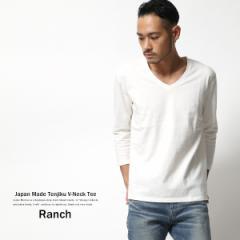 Tシャツ メンズ カットソー 七分袖 日本製 国産 天竺編み 度詰め 丸胴 無地 Vネック Ranch RDW-004 6336【pre_d】