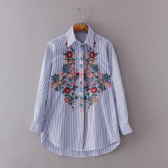 ファッション フローラル 刺繍 ブラウス シャツ ...
