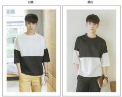 夏用★涼しい スプライス メンズTシャツ Uネック ファッション ゆっくり感 少年 学院風 素敵な新作 B-12