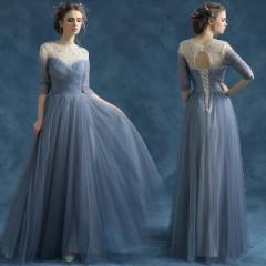 カラードレス ロングドレス 安い パーティードレス 演奏会 コンサート 結婚式 イブニングドレス 二次会 花嫁 袖 発表会