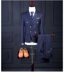 ストライプ縦縞ネイビーダブルスーツ・3点セットアップ メンズネイビースーツ 秋 ビジネス スリーピース 薄手 卒業式結婚式二次会2色