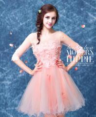 花嫁の介添えドレス 二次会 演奏会 ウェディングドレス 結婚式 贅沢なドレス ピンク  成人式 披露宴 編み上げ