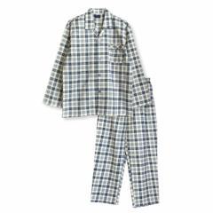 大きいサイズ 綿100% 長袖 メンズ パジャマ 春 秋 向け 2色チェック柄