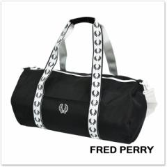 【セール 25%OFF!】FRED PERRY フレッドペリー メンズバレル ボストンバッグ L2208 / TRACK BARREL BAG ブラック