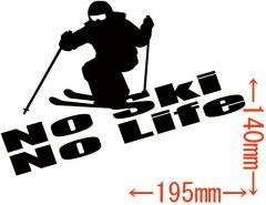 カッティングステッカー 車 オシャレ カッコイイ ワンポイント 目立つ カスタム【No Ski No Life (スキー) ・2(SK)】【メール便】