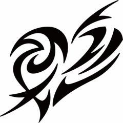 カッティングステッカー 車 バイク オシャレ カッコイイ カスタム 【ハート トライバル ・7 (1枚1セット) サイズL】【メール便】