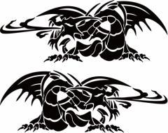 カッティングステッカー 車 バイク オシャレ カッコイイ ワンポイント【ドラゴン 龍 トライバル 2・12(左右1セット)】【メール便】