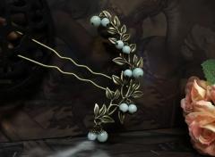 簪 髪飾り【和】本翡翠&クレセントリーフかんざし.:*和装 浴衣 礼装 留袖 訪問着 結婚式パール フォーマル