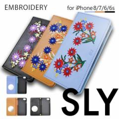 iPhone8 iPhone7/6s/6 【SLY/スライ】 「EMBROIDERY/刺繍」 手帳型ケース
