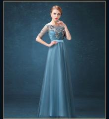 パーティードレス 演奏会 結婚式 カラードレス 半袖 ロングドレス 安い イブニングドレス 二次会 花嫁