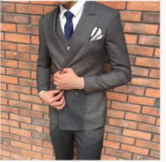 メンズ/スリーピーススーツ /セットアップ/3ピーススーツ/送料無料/ボーダー柄/ビジネス/スリム/紳士服/入学式/結婚式
