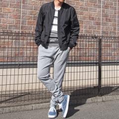 MA-1 スウェットパンツ ボーダーTシャツ スニーカー 流行アイテムでまとめた 春本命 コーディネート