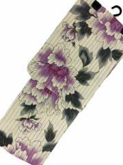 京都で一番浴衣を販売する小売屋さんお薦め 仕立て上がり浴衣  対応身長 155cm-168cm 変わり織 生成り地 紫 牡丹 柄no29045