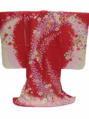 七五三 7歳 七歳用 女子 正絹 着物 赤地 のしめ 桜 柄no11