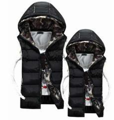 迷彩男女兼用ダウンベスト綿入ベスト秋冬軽量カップルお揃い中綿 ノースリーブ ペアルック スリムジャケット