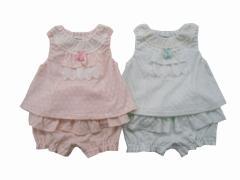 Pample Mousse(パンプルムース) 日本製 春物 ベビー服 女の子 水玉接結 ミルキースーツ 70 80 90
