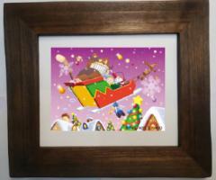 """すがのやすのり """"つりねこ"""" 額装インクジェットプリント 直筆サイン入り 「おもちゃのクリスマス」 ARTBOX限定販売"""