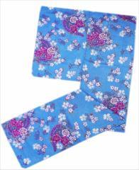 女性用大きいサイズふくよかさん浴衣単品水色ドット地牡丹藤桜撫子4L・5L