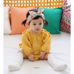韓国子供服 ベビー 小ドットロンパース 花柄ターバンつき  kz-kf07031605
