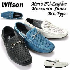 WilsonメンズPUレザーモカシンシューズ「ビットタイプ」(ウィルソン,メンズ,ドライビングシューズ,デッキ,パンチング,カジュアル)