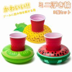 うきわ ミニ浮き輪  可愛い  海 ビーチ プールフロート プールパーティー 飲み物用 スイカ レモン パイナップル 3型セット