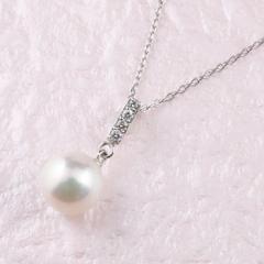 パールネックレス 真珠  プラチナ ネックレス 一粒 アコヤ ダイヤモンド 6月誕生石 チェーン 人気 ダイヤ