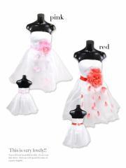 【 特別な日に特別なドレスを♪】【Tika ティカ】ビッグフラワー付きオーガンジーフレアミニドレス