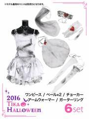 【Tikaハロウィンコスチューム】【ティカ】6setゾンビの花嫁コスプレミニドレスワンピース大人用レディースかわいいイベント仮装衣装