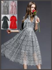 人気!大人気品ドレス★パーティードレス 二次会 披露宴 セレブ風 優雅レース ドレス ワンピース