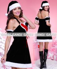 クリスマス/ブラックサンタ/サンタ衣装/コスプレ/黒 ドレス ワンピース9447