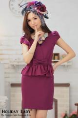 即納SALE結婚式ドレスお呼ばれワンピースセットアップ風ぺプラムミニワンピ[S][紫]